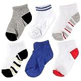 Kyпить Luvable Friends 6 Pack No-Show Striped Socks, Boy-Striped, 0-6 Months на Amazon.com