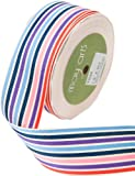 May Arts 1-1/2-Inch Wide Ribbon, Blue and Purple Grosgrain Stripes