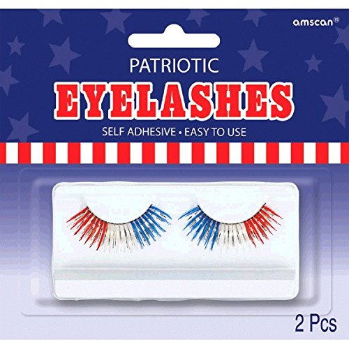 Patriotic Costumes Accessories - Amscan Patriotic Eyelashes, Party