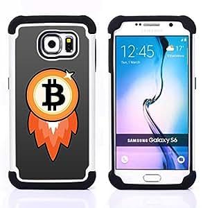 BullDog Case - FOR/Samsung Galaxy S6 G9200 / - / Bitcoin Chip Money Rocket /- H??brido Heavy Duty caja del tel??fono protector din??mico - silicona suave