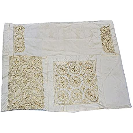 Moroccan Silk Embroidered Cotton Bedspread With Matching Pillowcases