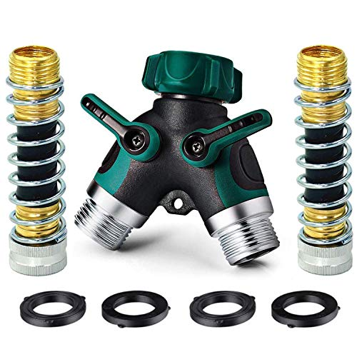 WUYOR 2 Way Hose Splitter + 2 Kink Free 8cm Hose Savers + 4 Washers 3/4 Hose Connector Bolted & Threaded Splitter Rubberized Grip Smooth Long Handles Valve Garden Splitter (7 Parts Accessory)