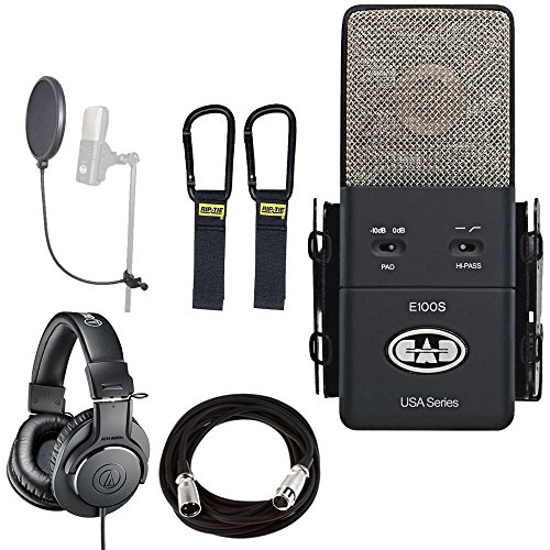CAD Large Diaphragm Supercardioid Condenser Microphone + Professional Headphones + Pop Filter + Mic Cable + Cable Carrier - Top Value Bundle