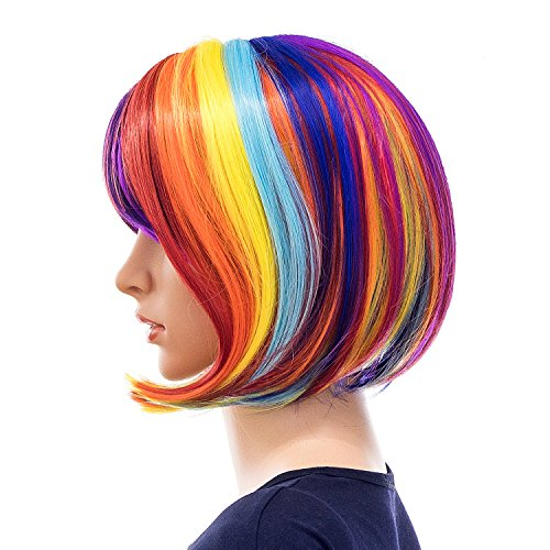 SWACC Rainbow Colors Straight Short Hair Bob Wig Synthetic Colorful Cosplay Daily Party Flapper Wig  - http://coolthings.us