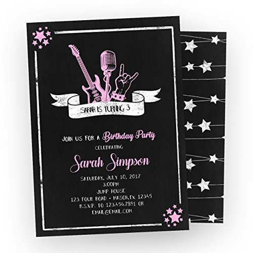 Pink Rockstar Birthday Invitations Girl Rock Star Guitar Chalk