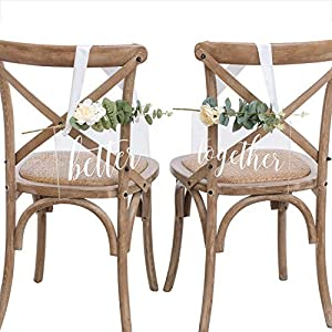 """Ling's moment Handmade Acrylic Wedding Chair Signs Bride and Groom Chair Signs Mr Mrs Chair Signs 12"""" x 8"""" Hanging Signs Chair Backs 13"""