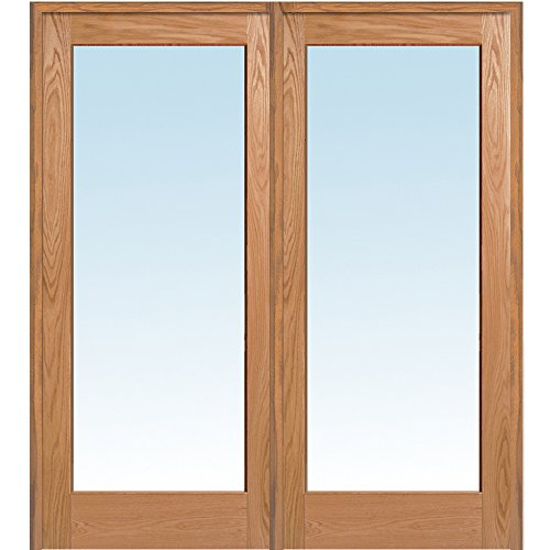 National Door Company Z019990L Unfinished Red Oak Wood 1 Lite Clear Glass, Left Hand Prehung Interior Double Door, 60'' x 80'' by National Door Company