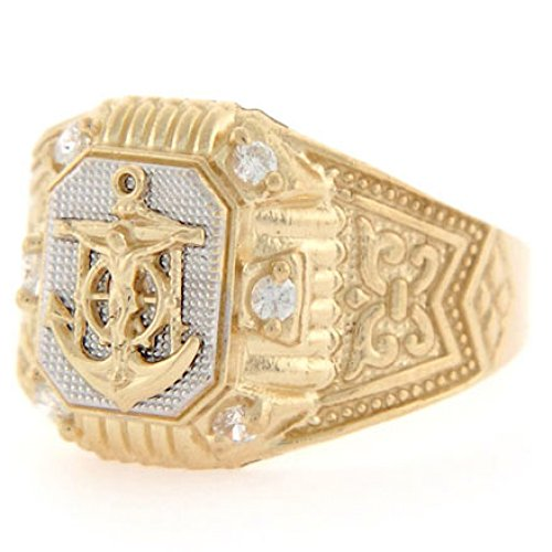10k Two Tone Gold Anchor CZ Fancy Religious Mens Ring Two Tone Cross Ring