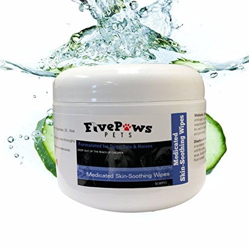 Five Paws Keto-C Medicated Wipes~50 wipes with Chlorhexidine and Ketoconazole ~ Infused with Aloe for a Pleasant Smell & Cool Relief of Skin Allergies, Skin Problems for Cats Dogs and ()