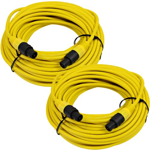 Seismic Audio TW12S100Yellow-Pair Pair of 12 Gauge 100-Feet Yellow Speakon to Speakon Speaker Cable by Seismic Audio