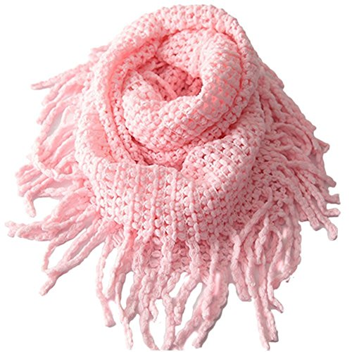 Tusong Winter Warmer Unisex Baby Kids Toddler Knit Tassels Shawl Scarf (Pink)
