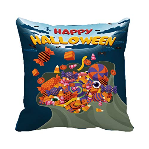 Batmerry Halloween/Thanksgiving Theme Decorative Pillow Covers 18 x 18 inch,Vintage Halloween Bag Candy Sweet Treat Lollipop Trick Monster Party Throw Pillows Covers Sofa Cushion Cover Pillowcase