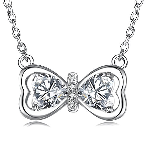 925 Sterling Silver Bow-Knot Necklace Lovely Bow Tie Pendant Cubic Zirconia Necklace Silver Necklace for Girls Women (Bow-Knot)