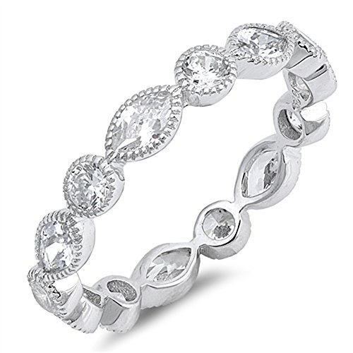 Clear CZ Eternity Stackable Wedding Ring New 925 Sterling Silver Band Size - Anniversary Stackable Wedding
