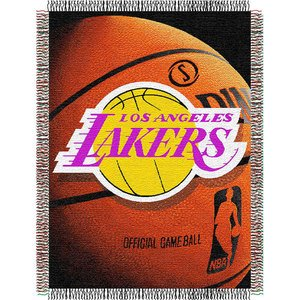 Officially Licensed NBA Los Angeles Lakers Photo Real Woven Tapestry Throw Blanket, 48