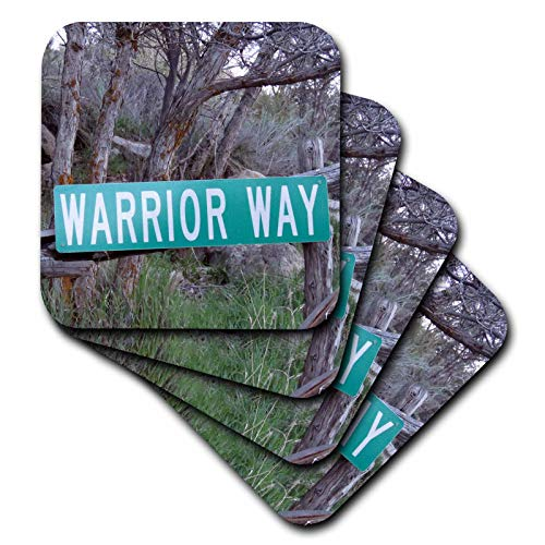 3dRose Jos Fauxtographee- Warrior Way - A sign that says Warrior Way in green near a forest - set of 8 Ceramic Tile Coasters (cst_319014_4)
