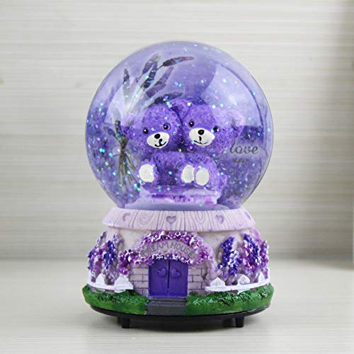 Veigu Night Light Water Globe Snow Globe Crystal Ball Music Box Gift Resin Base (Lavender Bear - Globe Box Music Snow