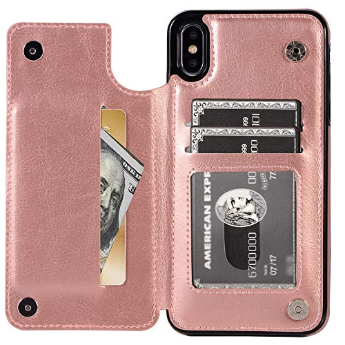 iPhone Xs Max Wallet Case with Card Holder, XRPow Premium PU Leather Kickstand Card Slots Case Magnetic Clasp Durable Shockproof Flip Cover for iPhone Xs Max 6.5 Inch (Rose ()