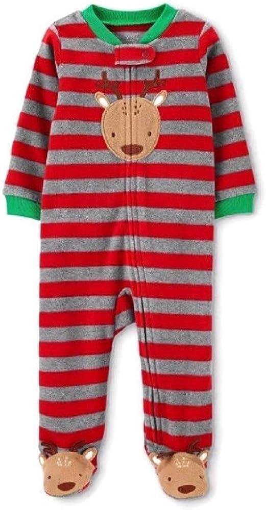 Just One You Baby Boys' Reindeer Striped Fleece Sleep 'N Play Red (3 Month)
