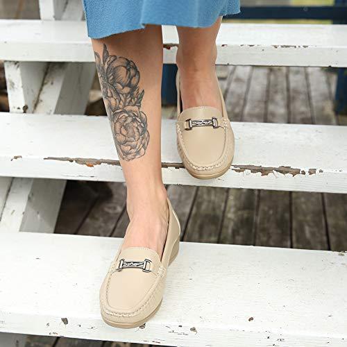 Scarpe Quotidiano Con E Mocassini Loafers Il Beige Per La I'uso Wedge Zeppa Donna Lavoro Comode Donna Pelle Sintetica Scelta Migliore UqUEArwx