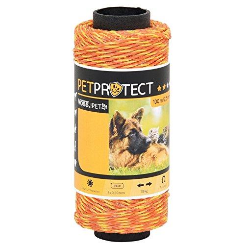 Voss.miniPET Fil électro-Plastique - MiniPet - Orange - 100m - Acier INOX 3x0,20 - Fil pour Clôtures électriques Sûres en Milieu privé - pour Chiens, Chats, et Beaucoup D'autres Encore.
