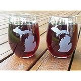 2 Michigan Custom Etched Stemless Wine Glasses