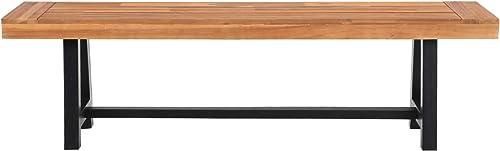 MFSTUDIO Outdoor Patio Acacia Wood Bench 600 LBS Weight Capacity Dining Furniture for Backyard, Garden, Lawn – Teak Color