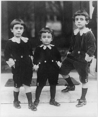 Photography Poster - Children wearing velvet suits inspired by Little Lord Fauntleroy style, Gloss finish, -