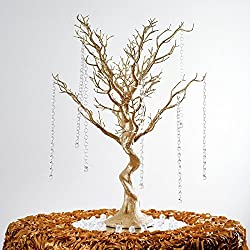 "Efavormart 30"" Glittered Manzanita Centerpiece Tree for Wedding Banquet Birthday Party Event Tabletop Decorations- Gold"
