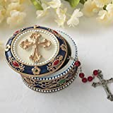 "Fashioncraft Golden Cross Rosary Box - 2.75"" Trinket Box for Rosary Beads, Keepsakes, Small Jewelry and Mementos"