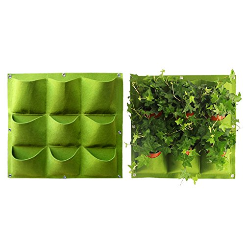 Yuccer Vertical Garden Planter, Wall-mounted 9 Pockets Planting Bags Hangers Outdoor Indoor Vegetables Flowers Growing Container Pots(Green)