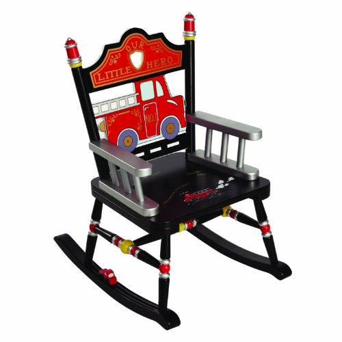 Wildkin Fire Engine Rocking Chair, Features Fire Fighter-Inspired Details, Classic Rocker Design, and Durable Wood Construction, Measures 23 x 16 x 29 Inches