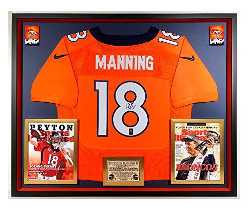Premium Framed Peyton Manning Autographed/Signed Denver Broncos Official Nike Elite Jersey - OFFICIAL MANNING HOLOGRAM COA (Signed Peyton Manning Jersey)