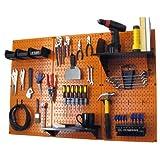 Wall Control 30-WRK-400 ORB Pegboard Organizer 4' Metal Standard Tool Storage Kit with Orange Tool Board and Black Accessories