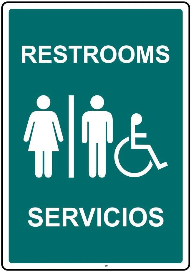 DYLAN MILLER Road Sign Restrooms Servicios Sign 12 x 16 Inches Metal Sign