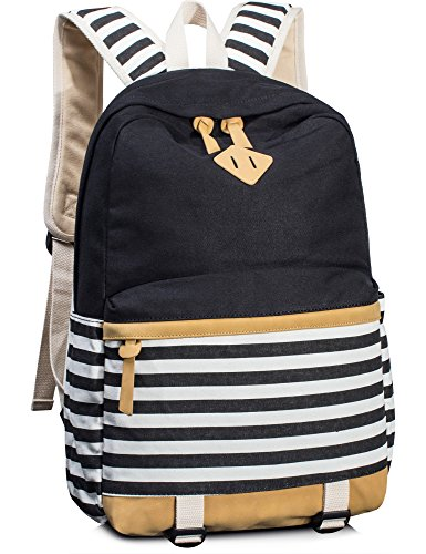 Striped Backpack - Leaper Cute Navy Style School Laptop Backpack Striped Canvas Bookbag Black