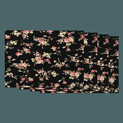 - Moslion Floral Place Mats Set of 4. Nature Vintage Bouquet Pink Rose Flower Green Leaves Cotton Linen Placemats 12x18 Inch for Dinner Kitchen Table Dining Room