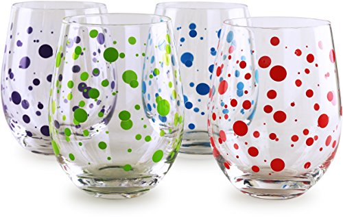 Circleware 77027 Polka Dots Stemless Wine Glasses, Set of 4 Drinking Glassware for Water, Juice, Beer, Liquor and Best Selling Kitchen and Home Decor Bar Dining Beverage Gifts, 18.9 oz, Colored by Circleware (Image #6)