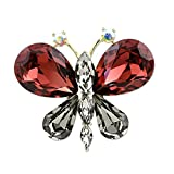 Women Girl Alloy Rhinestone Butterfly Crystal Brooch Pendant Dual Use Diamond Brooch Pins For Women
