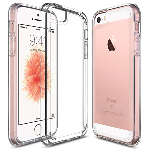 Hard Crystal Premium (iPhone SE Case, UARMOR Transparent Crystal Clear Premium Protective Case Hard 3H PC Back Cover Flexible TPU Bumper for Apple iPhone SE 2016 & iPhone 5 5s (Clear))