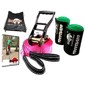 HopOn 50ft Pink Slackline for Fitness or Yoga Workouts