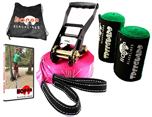HopOn 50ft Pink Slackline for Fitness or Yoga Workouts