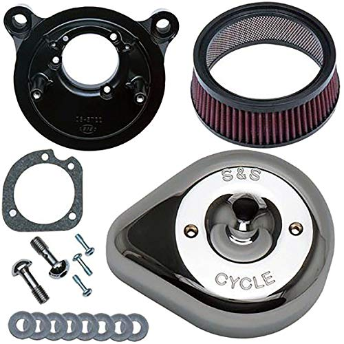 S&S Cycle Stealth Air Cleaner Kit with Teardrop Cover Compatible for Harley-Davidson Dyna Defender FXDP : 2004 - Chrome