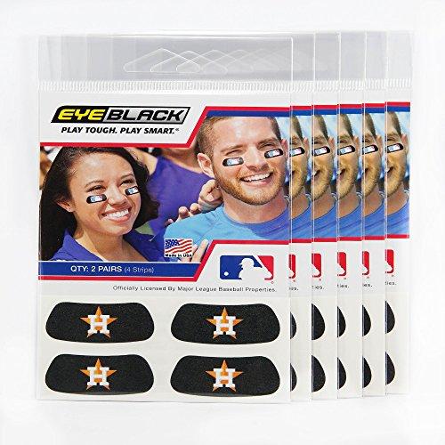 Houston Astros Mlb Baseball Sticker - EyeBlack (24 Strips) - Houston Astros MLB Eye Black Anti Glare Strips, Great for Fans & Athletes on Game Day