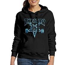 Women's Thrasher Skateboard Outwear Black Pullover Hoodie Sweatshirt