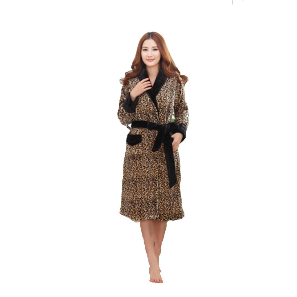 Winter pajamas for men and women Shuipao short plush thick bathrobes pajamas home couples models spring and autumn winter , female leopard gown , xl