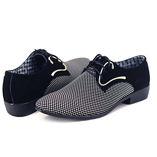 48 Blanco de 38 Boda con Zapatos Cuerdo de para Vestido Cordones Poplover Hombre Zapatos Necogio qffBp