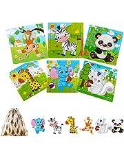 Felly Speelgoed voor baby's vanaf 2 jaar, houten puzzel voor kinderen van 1, 2, 3, 4 jaar, meisjes en jongens, speelgoed van Montessori met opbergtas, pedagogisch cadeau, Kerstmis, verjaardag (6 dierpuzzels)