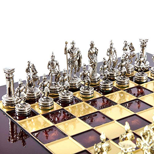 Manopoulos Greek Roman Army Chess Set – Brass&Nickel – Red Chess Board