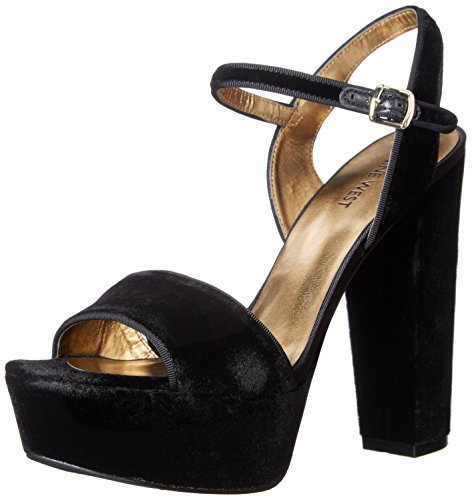 Nine West Women's Carnation Fabric Heeled Sandal, Black Velvet, 10 M US